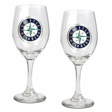Seattle Mariners 2 Piece Wine Glass Set