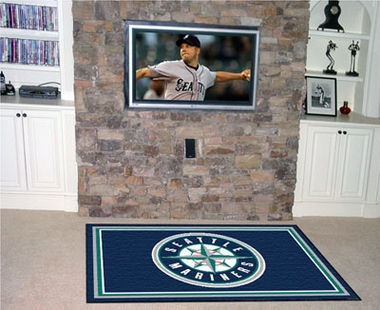 Seattle Mariners 5 Foot x 8 Foot Rug