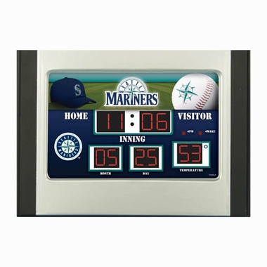 Seattle Mariners Alarm Clock Desk Scoreboard