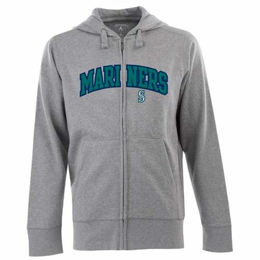 Seattle Mariners Mens Applique Full Zip Hooded Sweatshirt (Color: Gray)