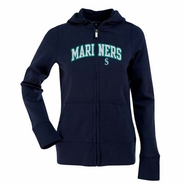 Seattle Mariners Applique Womens Zip Front Hoody Sweatshirt (Team Color: Navy)