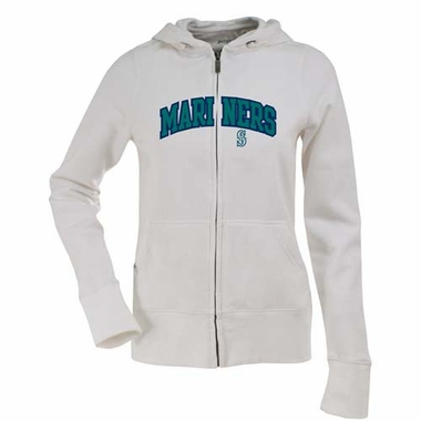 Seattle Mariners Applique Womens Zip Front Hoody Sweatshirt (Color: White)