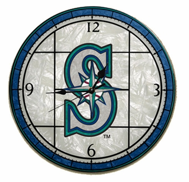 Seattle Mariners Art Glass Clock