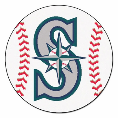 Seattle Mariners Baseball Shaped Rug