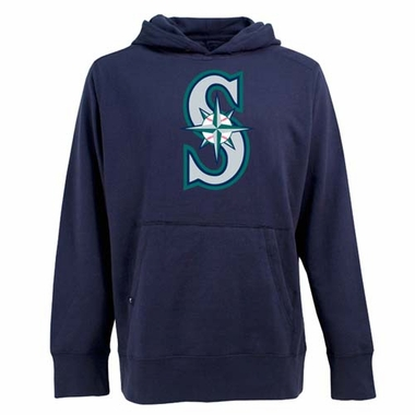 Seattle Mariners Big Logo Mens Signature Hooded Sweatshirt (Team Color: Navy)