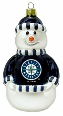 Seattle Mariners Blown Glass Snowman Ornament