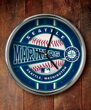 Seattle Mariners Chrome Clock