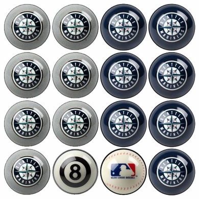 Seattle Mariners Home and Away Complete Billiard Ball Set