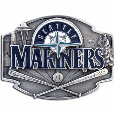 Seattle Mariners Enameled Belt Buckle