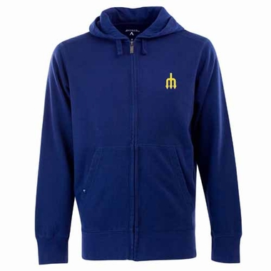 Seattle Mariners Mens Signature Full Zip Hooded Sweatshirt (Cooperstown) (Color: Navy)