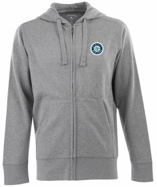 Seattle Mariners Mens Signature Full Zip Hooded Sweatshirt (Color: Gray)