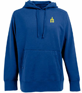 Seattle Mariners Mens Signature Hooded Sweatshirt (Cooperstown) (Team Color: Royal) - X-Large