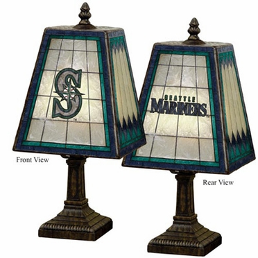 Seattle Mariners Small Art Glass Lamp