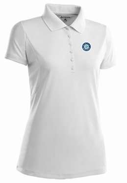 Seattle Mariners Womens Pique Xtra Lite Polo Shirt (Color: White)