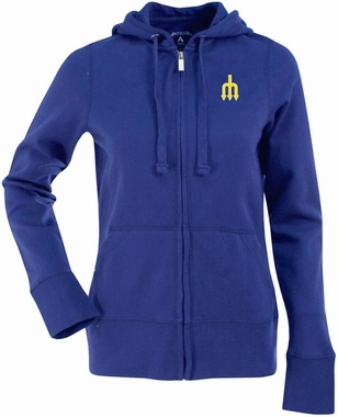 Seattle Mariners Womens Zip Front Hoody Sweatshirt (Cooperstown) (Team Color: Royal)