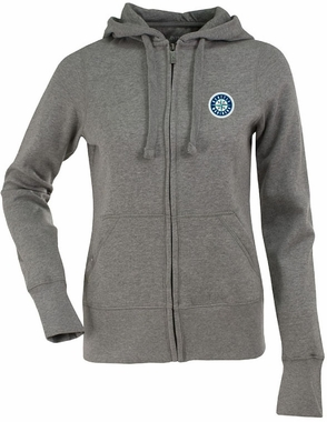 Seattle Mariners Womens Zip Front Hoody Sweatshirt (Color: Gray)