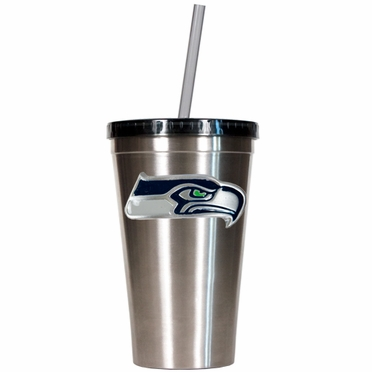 Seattle Seahawks 16oz Stainless Steel Insulated Tumbler with Straw