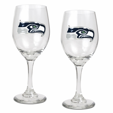 Seattle Seahawks 2 Piece Wine Glass Set