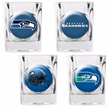 Seattle Seahawks 4 Piece Assorted Shot Glass Set