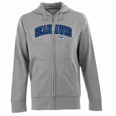 Seattle Seahawks Mens Applique Full Zip Hooded Sweatshirt (Color: Gray)
