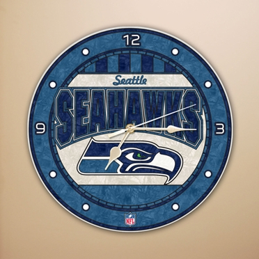 Seattle Seahawks Art Glass Clock