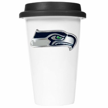 Seattle Seahawks Ceramic Travel Cup (Black Lid)