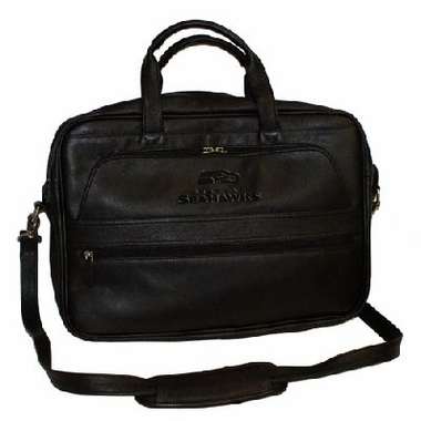 Seattle Seahawks Debossed Black Leather Laptop Bag