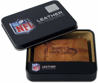 Seattle Seahawks Embossed Leather Trifold Wallet