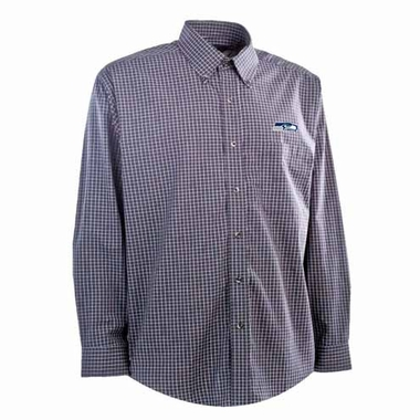 Seattle Seahawks Mens Esteem Check Pattern Button Down Dress Shirt (Team Color: Navy)