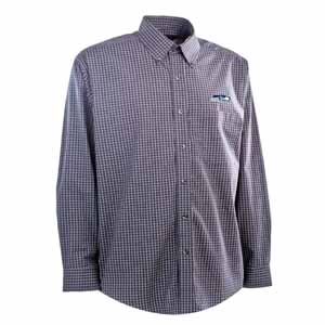 Seattle Seahawks Mens Esteem Check Pattern Button Down Dress Shirt (Team Color: Navy) - Large
