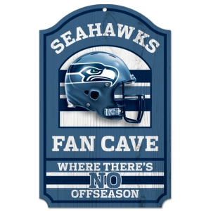 "Seattle Seahawks Wood Sign - 11""x17"" Fan Cave Design"