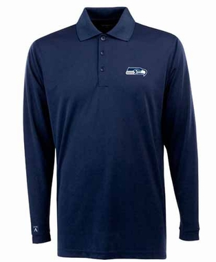 Seattle Seahawks Mens Long Sleeve Polo Shirt (Team Color: Navy)