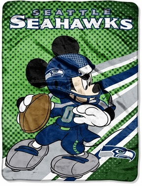 Seattle Seahawks Mickey Mouse Microfiber Throw