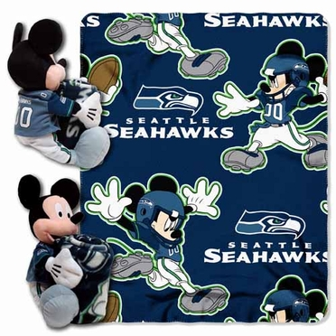 Seattle Seahawks Mickey Mouse Pillow / Throw Combo