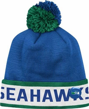 "Seattle Seahawks Mitchell & Ness NFL Vintage ""Block"" Knit Hat w/ Button"