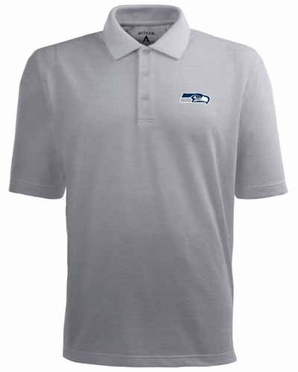 Seattle Seahawks Mens Pique Xtra Lite Polo Shirt (Color: Gray)