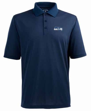 Seattle Seahawks Mens Pique Xtra Lite Polo Shirt (Color: Navy)