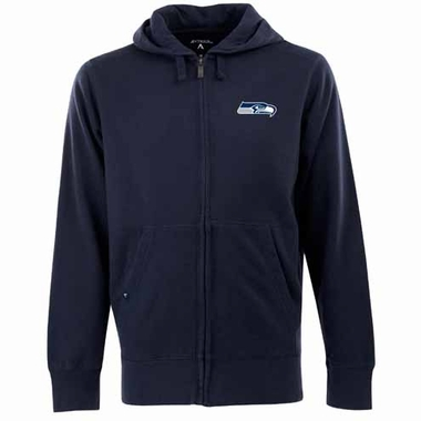 Seattle Seahawks Mens Signature Full Zip Hooded Sweatshirt (Team Color: Navy)