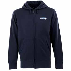 Seattle Seahawks Mens Signature Full Zip Hooded Sweatshirt (Team Color: Navy) - Large