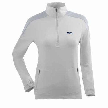 Seattle Seahawks Womens Succeed 1/4 Zip Performance Pullover (Color: White)