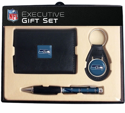 Seattle Seahawks Trifold Wallet Key Fob and Pen Gift Set