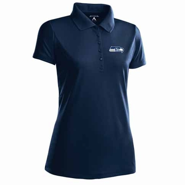 Seattle Seahawks Womens Pique Xtra Lite Polo Shirt (Color: Navy)