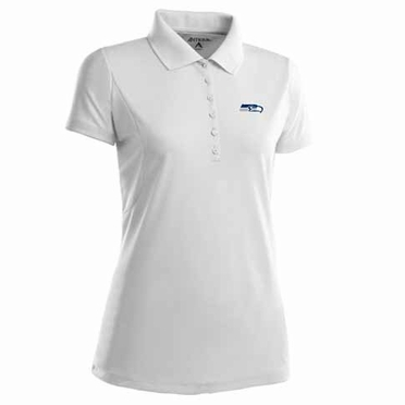Seattle Seahawks Womens Pique Xtra Lite Polo Shirt (Color: White)