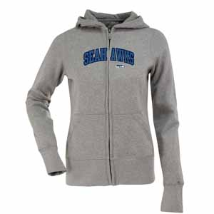 Seattle Seahawks Applique Womens Zip Front Hoody Sweatshirt (Color: Gray) - Large