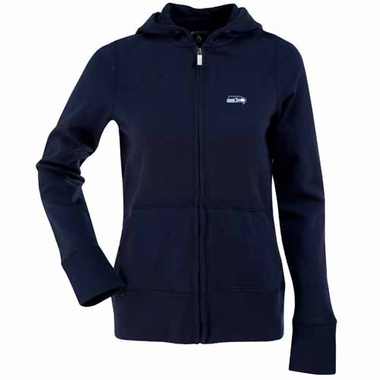 Seattle Seahawks Womens Zip Front Hoody Sweatshirt (Team Color: Navy)