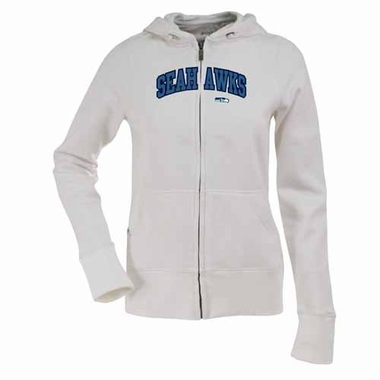 Seattle Seahawks Applique Womens Zip Front Hoody Sweatshirt (Color: White)