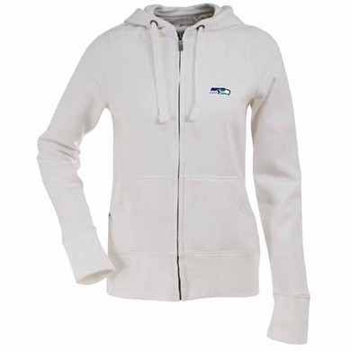 Seattle Seahawks Womens Zip Front Hoody Sweatshirt (Color: White)
