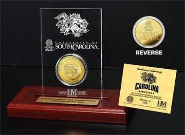 South Carolina Gamecocks University of South Carolina 24KT Gold Coin Etched Acrylic