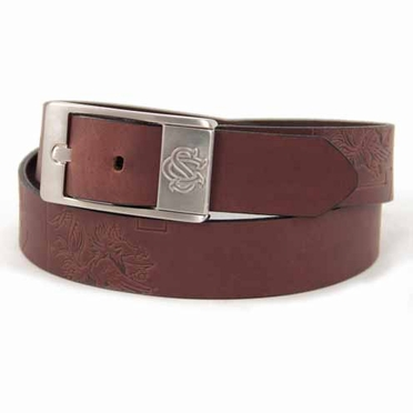 South Carolina Brown Leather Brandished Belt
