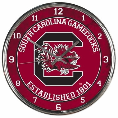 South Carolina Gamecocks Round Chrome Wall Clock